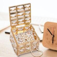 Мини-серьга кольцо коробка для хранения ювелирных изделий Кристалл организовать держатель с крышкой домашнего рабочего стола украшения