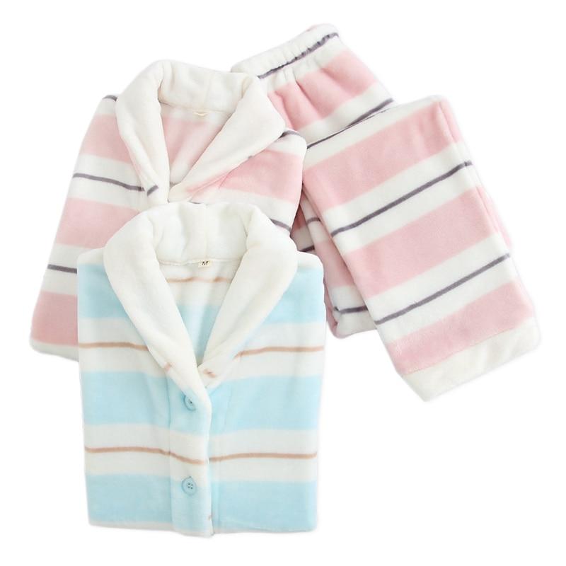 Japanese sweet striated flannel pajamas sets women winter keep warm kawaii sleepwear women long sleeve quality pyjamas women