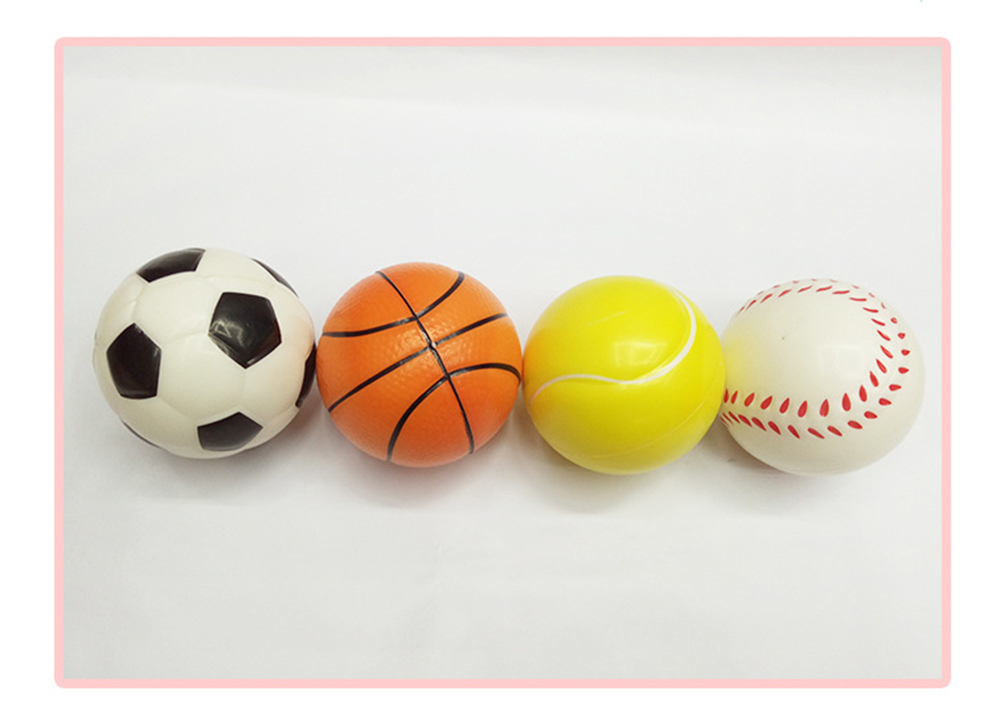Stress Relief Hand Basketball Baseball Football Tennis Exercise Soft Elastic Squuze Rubber Balls For Kid Anxiety Relief Ball J75