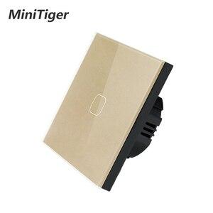 Image 4 - Сенсорный выключатель MiniTiger Европейского/британского стандарта, 1 клавиша, 1 канал, панель из белого хрустального стекла, сенсорный выключатель, настенный только сенсорный переключатель