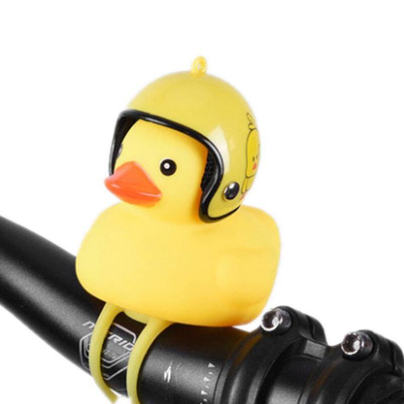 1pcs Yellow Silica Gel Little Duck Cartoon Shape Bicycle Bells Shining Mountain Bike Handlebar Duck Head Light Accessories