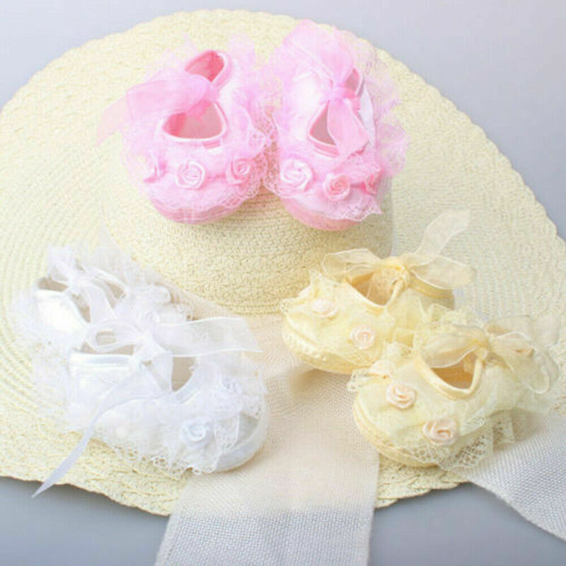 0-12M Newborn Baby Infant Girl Non-Slip Lace Flower Baby Shoes Soft Sneaker Lace Cute Solid White Pink Yellow Red Crib Shoes