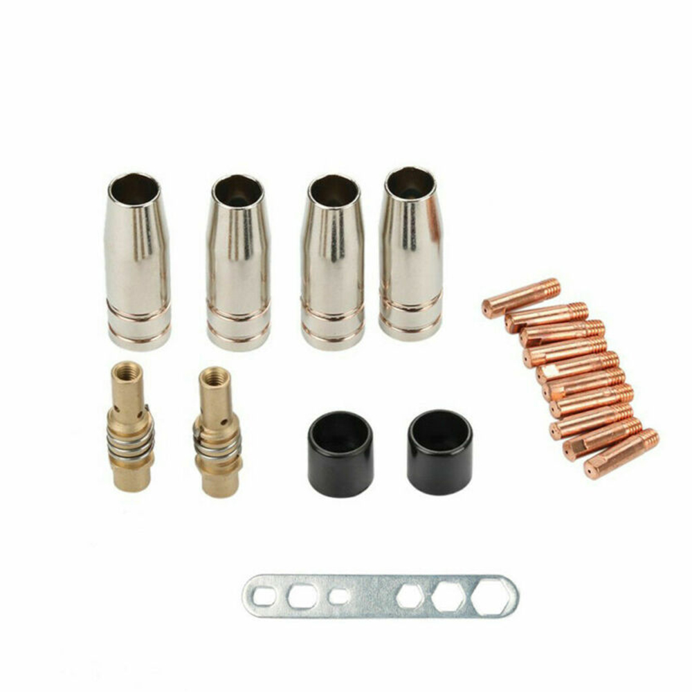 MB15/150 19Pcs Welding Torch Part Kit Accessories Nozzle Insulating Sleeve Four nozzles NW 12 10 electric nozzles M6 0.8mm