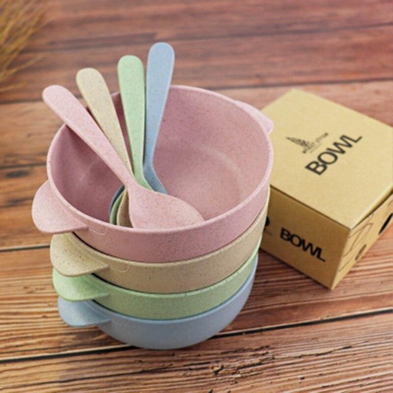 Набор посуды для кормления ребенка 2 шт., Экологически чистая тарелка для малышей, детская посуда, столовая посуда, детская тренировочная ча...