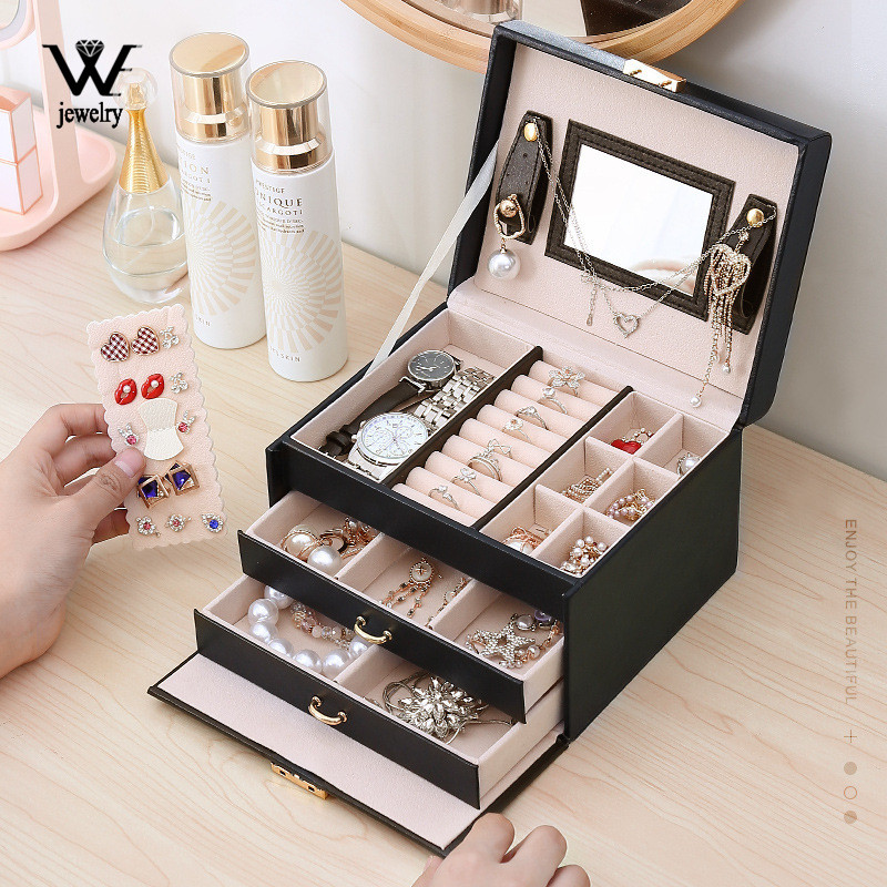 WE Jewelry Box Mirrored 3-layer Large Capacity Jewelry Casket Makeup Organizer Earring Holder Makeup Storage Gift Boxes Jewelry
