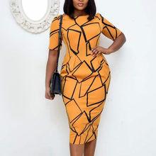 Las mujeres Bodycon estampado amarillo Vestido de manga corta cuello en O Oficina dama elegante Slim Vestidos modestos africana de gran tamaño de moda de verano