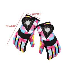 Snowboarding-Gloves Waterproof Gloves-Strap Mittens Cycling Skiing Warm Sports Kids Winter