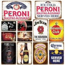 Rum com a placa de cerveja peroni, vintage metal, lata, sinais de lata, bar, casinho, parede, placas decorativas, uísque, vinho, pôster yj049