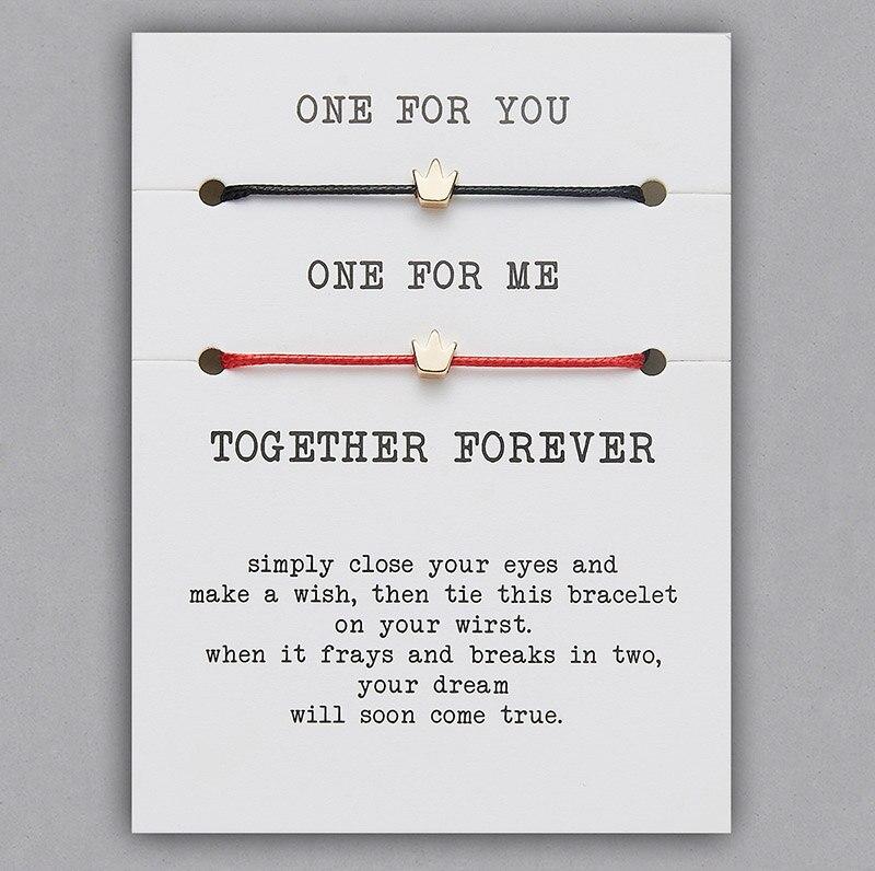 2 шт./компл. Сердце Звезда браслеты с крестообразной подвеской один для вас один для меня красная веревка плетение пара браслет для мужчин женщин карточка пожеланий - Окраска металла: BR18Y0714-1