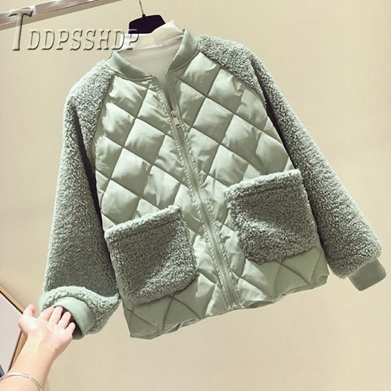 2019 Rhombus Candy Color Women Parkas Winter Imitation Lambswool Round Neck Female Coat