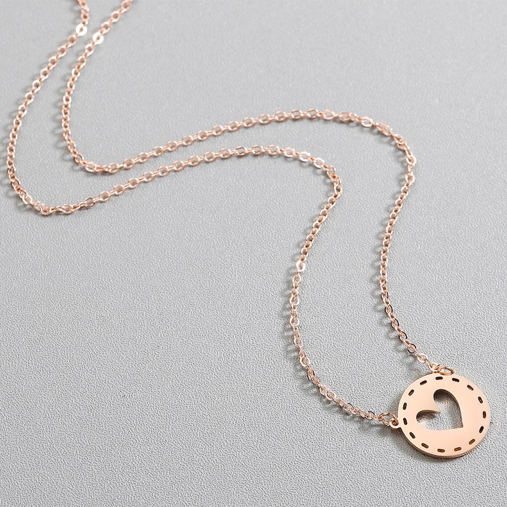 Todorova Stainless Steel Necklaces for Women Hollow Heart In the Circle Gold Color Pendant Necklace Engagement Jewelry