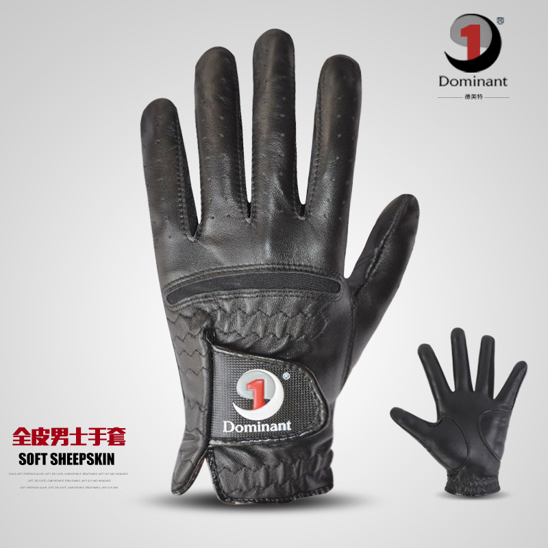 Genuine Product Dominant/Demetri Men Golf Gloves Black And White With Pattern One-piece Sheep Leather Gloves Local Thick