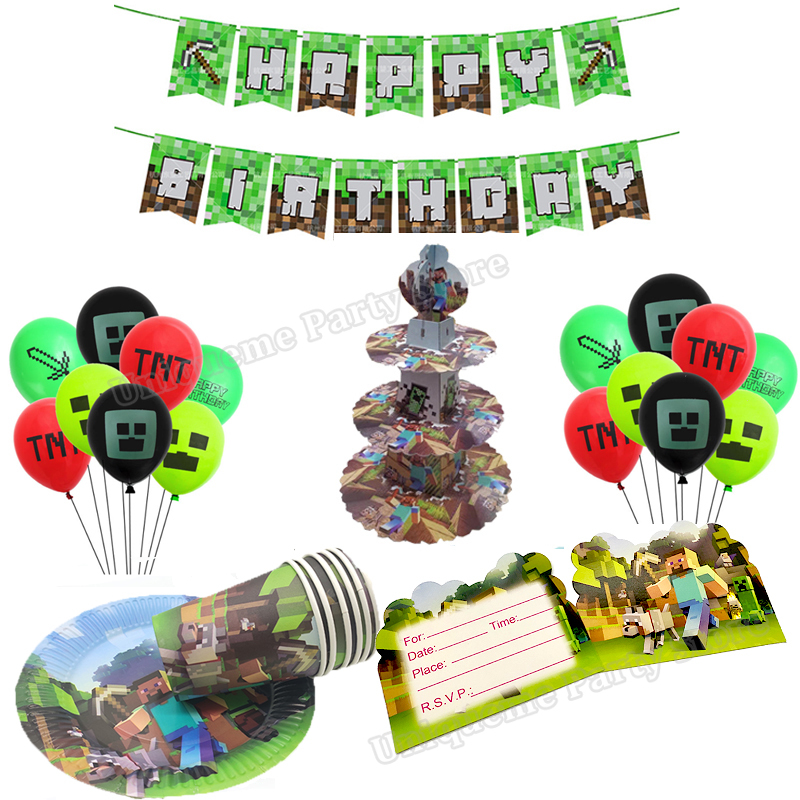 enfants-anniversaire-fete-fournitures-de-fete-minecradeaux-anime-jeu-ballons-dessin-anime-nappe-tasse-plaque-invite-carte-graduation-fete-decor