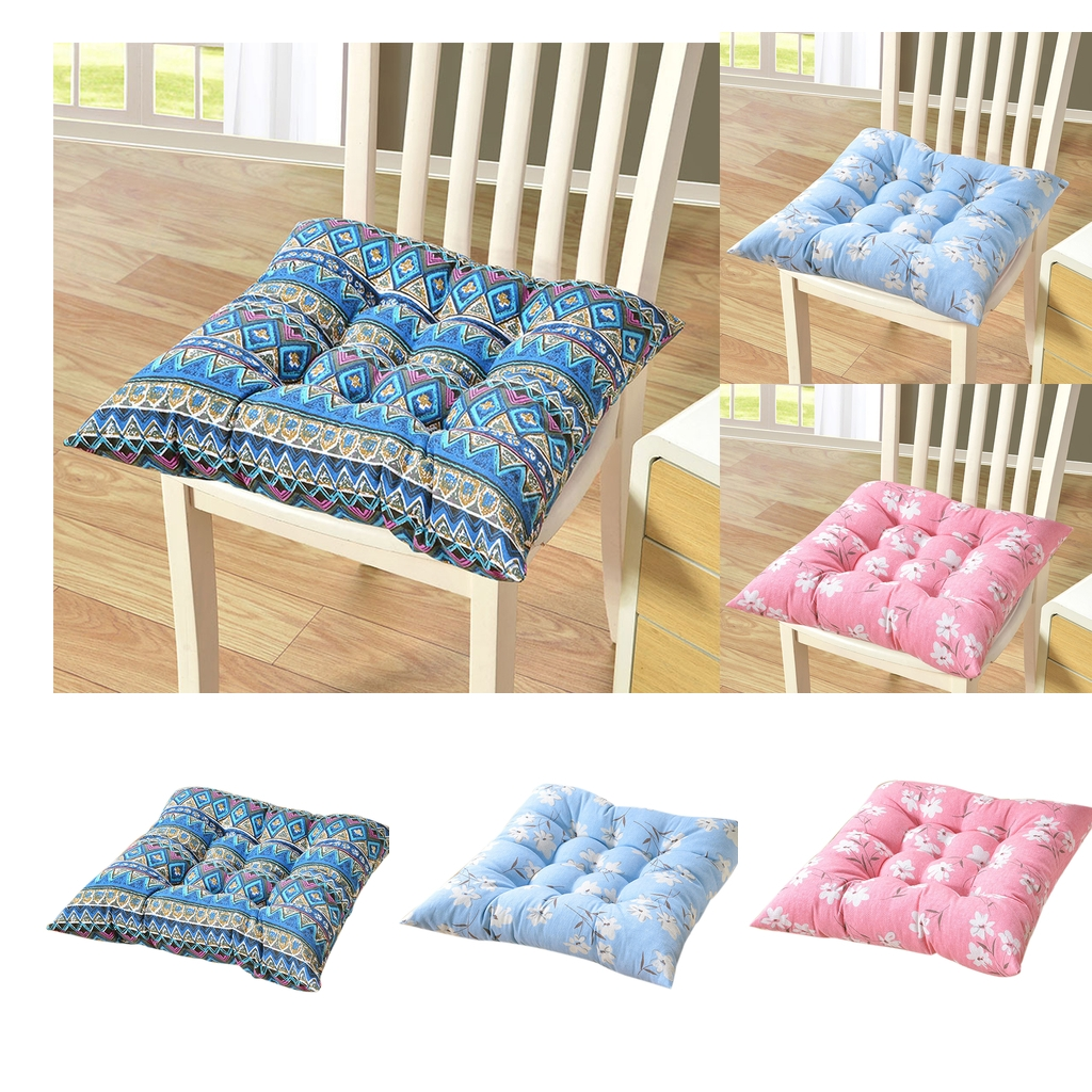 40x40cm Square Cushion Home Chair Pads Seat Cushions Pillows - Blue Ethnic Style
