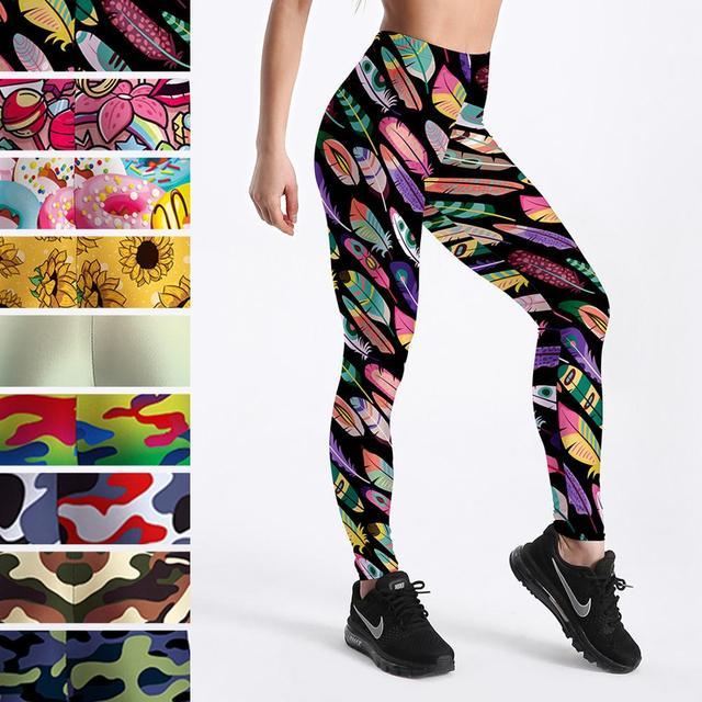 Elastic Spandex High Waist Women Digital Printed Fitness Leggings Push Up Sport GYM Leggings