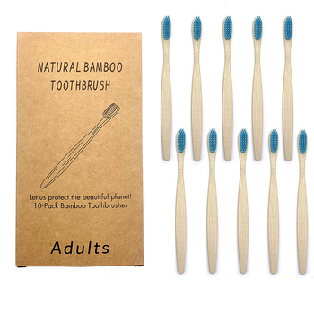 10Pcs Toothbrush Eco-Friendly Rainbow Bamboo Soft Fibre Biodegradable Teeth Brush Solid Handle