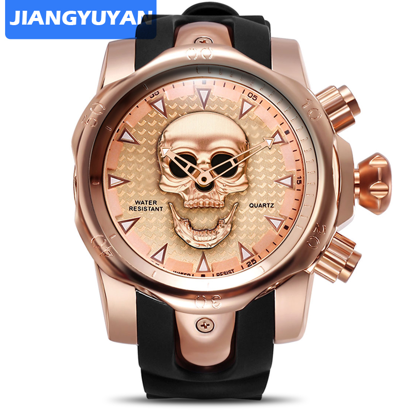 Hot Silicone Blet Casual Sport Watches Men 3D Skull Face Quartzwatch Luxury Brand Military Wrist Watch relogios masculino 2020