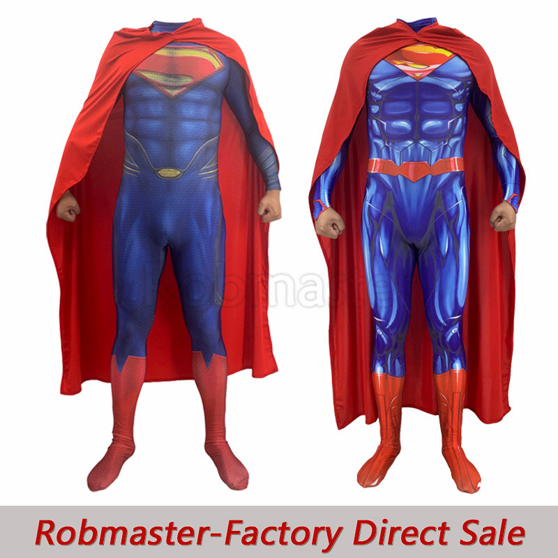 Men Boys Superman: Man of Steel 2 Clark Kent Cosplay Costumes DC Justice League Superhero Zentai Jumpsuits Cloak Bodysuits Suit