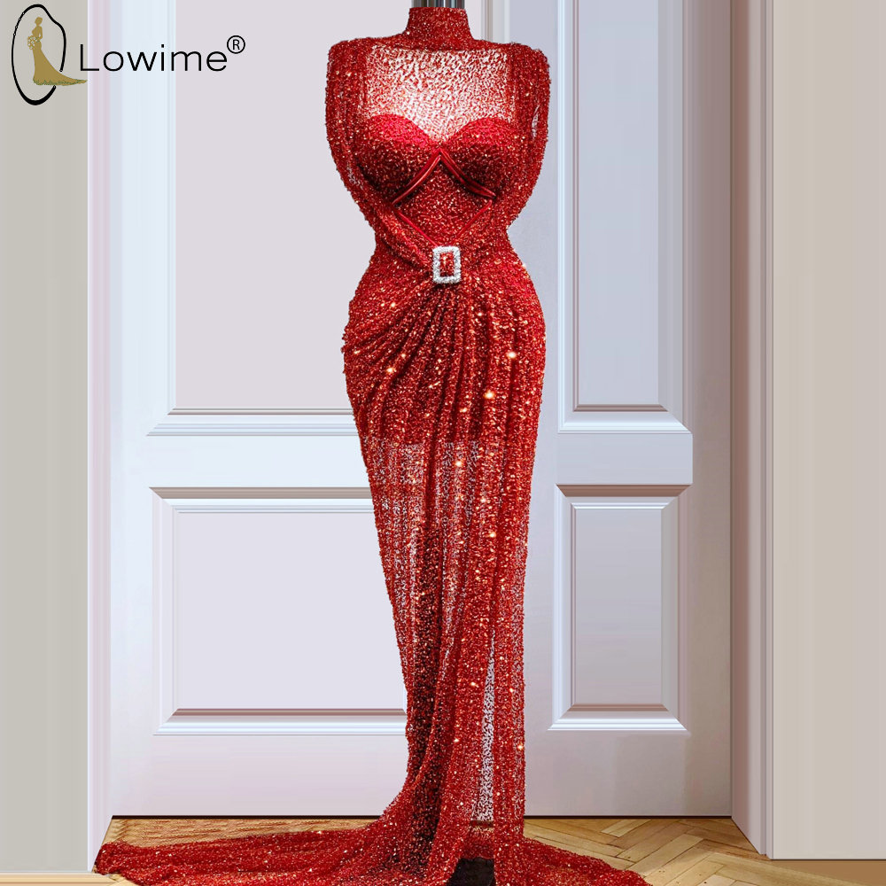 Red Sequins High Neck Mermaid Evening Dresses Muslim Illusion Sweep Train Robe De Soiree Prom Party Gowns