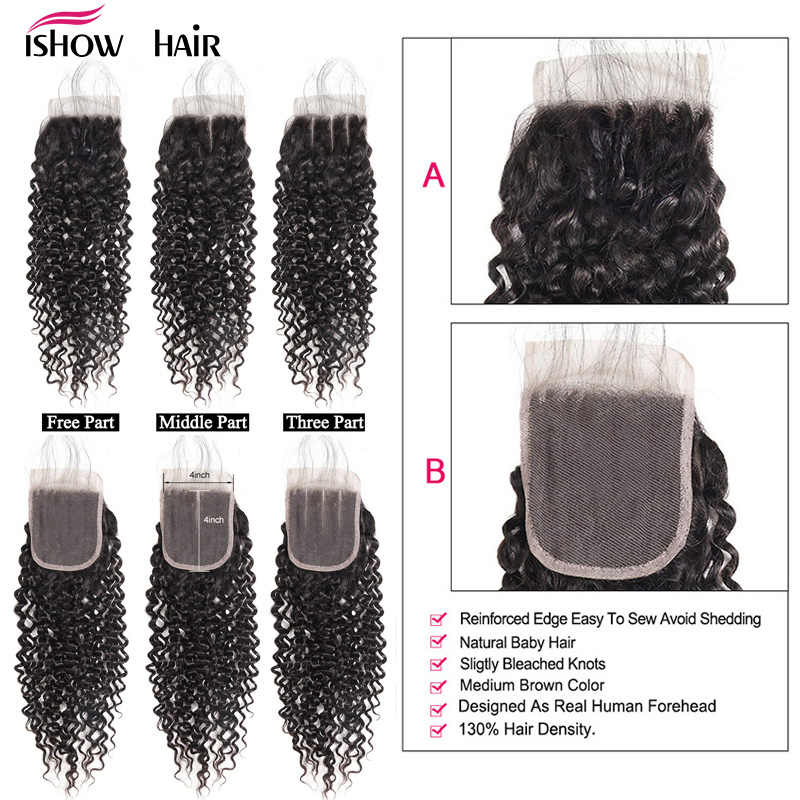 Ishow Hair Indian Curly Lace Closure 100% Human Hair Bundles With Closure 4*4 Free Part Natural Color Non Remy Hair Weaves