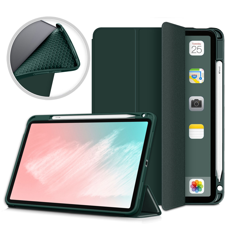 Dark Green Other Pencil Holder Case For iPad Air 4 10 9 inch 2020 A2324 A2072 Flip Stand PU