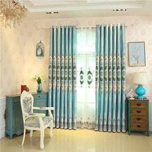 Modern classic luxury jacquard rural green Blackout curtains for Living Room high quality villa custom curtains for Bedroom