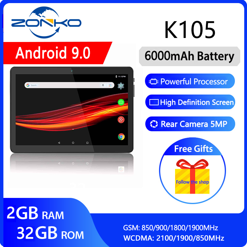 ZONKO 3G Phone Call Tablet PC 10 Inch Tablet Android 9.0  Sim Card Tablets 2GB RAM 32GB ROM 1280*800 IPS  Dual Camera WiFi GPS