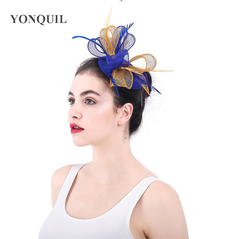 Nice sinamay wedding fashion fascinator hat elegant women bride mariage headpiece hair pin fancy feather decor headwear access