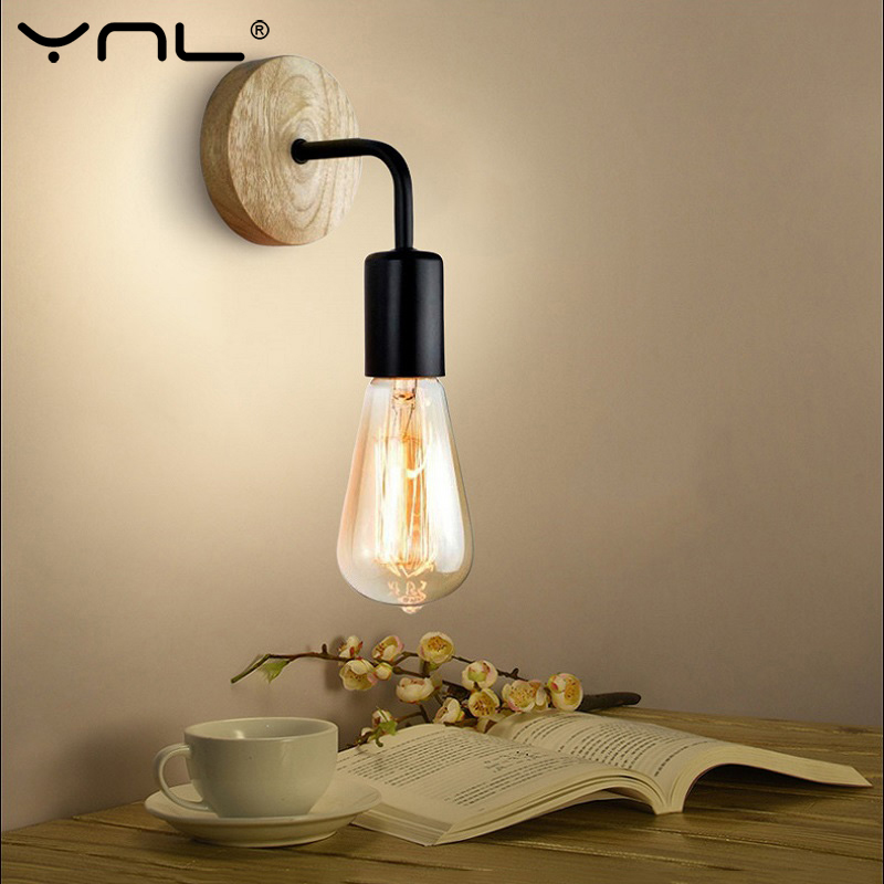Vintage Wall Lamp Bedside Retro Sconce Wall Lights Fixture 110V 220V E27 Indoor Decor Industrial Wood Wall Lamp Bedroom Light