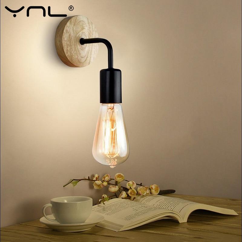 Vintage Wall Lamp Bedside Retro Sconce Wall Lights Fixture 110V 220V E27 Indoor Decor Industrial Wood Wall Lamp Bedroom Light