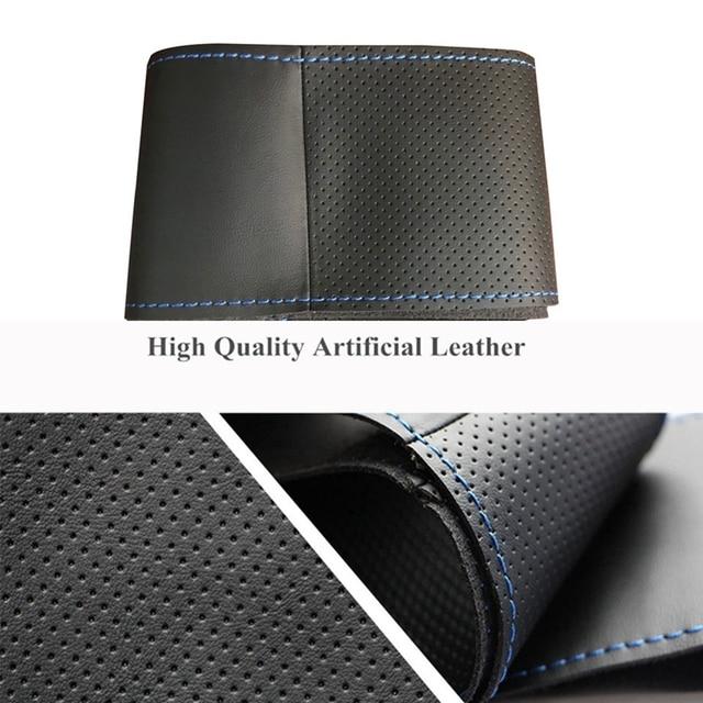 Cuir artificiel bricolage noir couture à la main housse de volant pour Nissan Almera (N16) Primera (P12)Terrano 2 Pathfinder Paladin