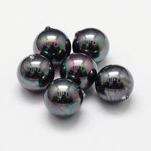 Lot de 10 perles de coquillage noires rondes et demi-percées, 6mm, Grade A, pour la fabrication de bijoux, accessoires de décoration, trou: 1mm