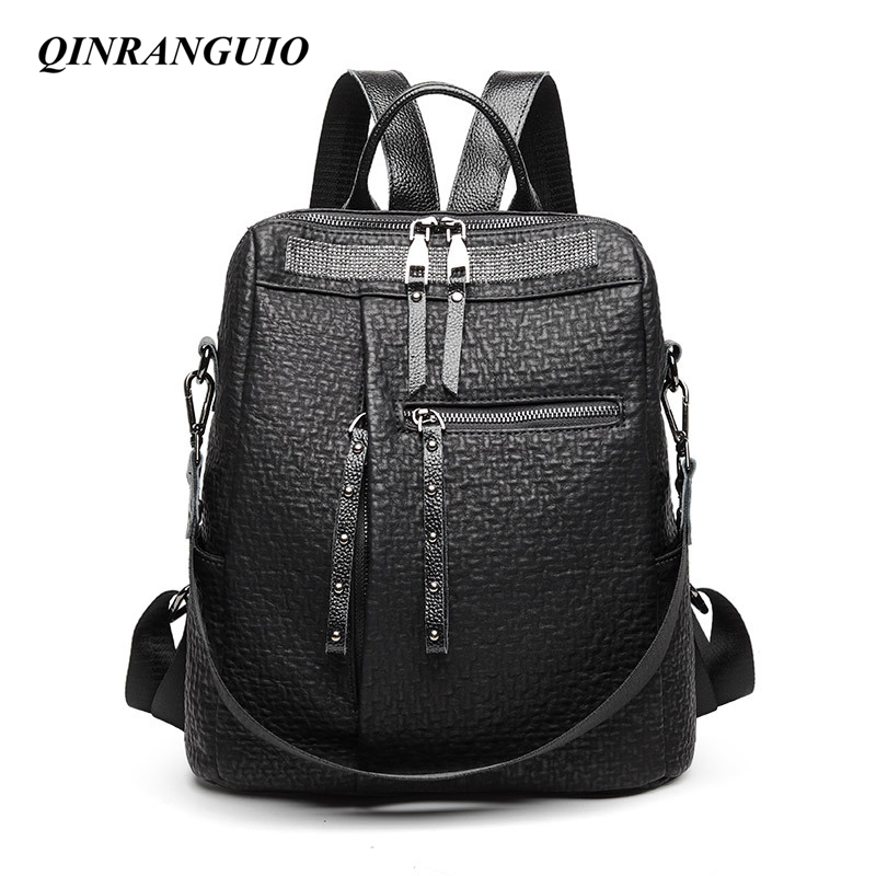 QINRANGUIO Women Backpack Genuine Leather Backpack Women 2020 New Fashion Backpack Female Large Capacity Solid Black Backpack