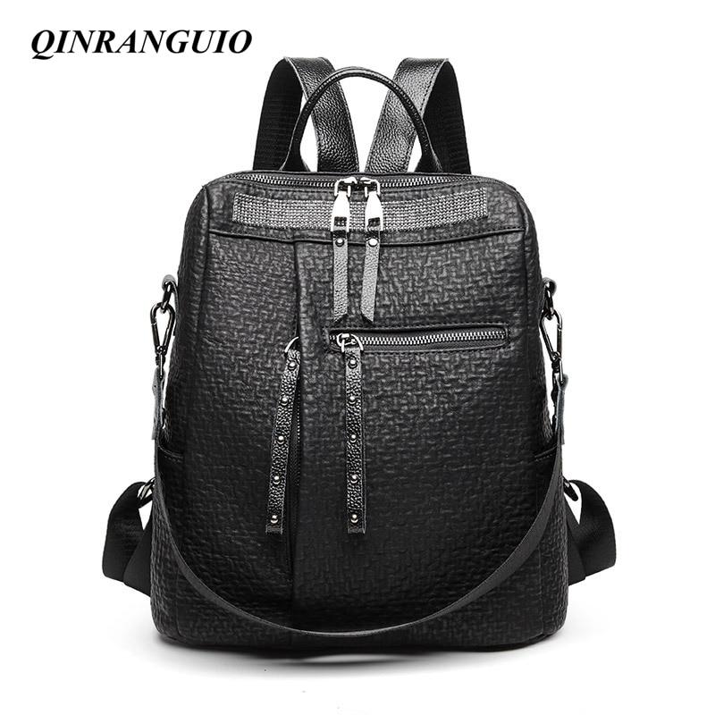 QINRANGUIO Women Backpack Genuine Leather Backpack Women 2020 New Fashion Backpack Female Large Capacity Solid Black Backpack