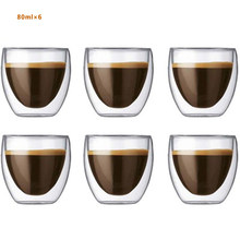 Glass Heat-resistant Double-layer Glass Beer Espresso Coffee Cup Set Handmade Beer Mug Tea Cup Whiskey Glass Drink B200129