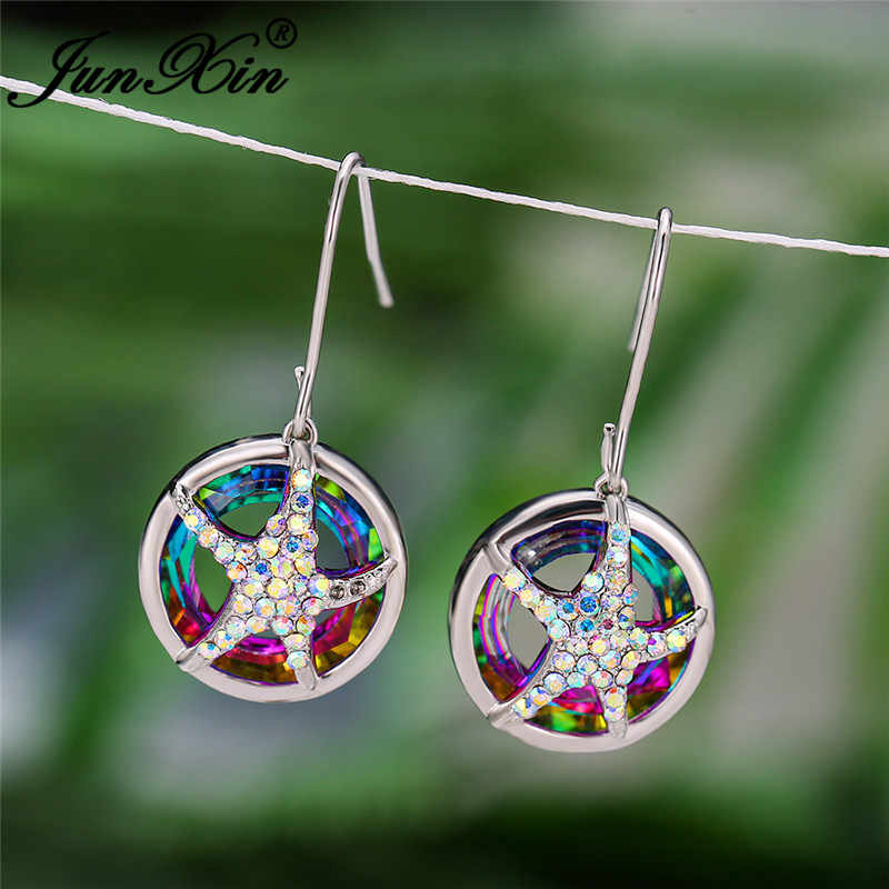 Mystic Rainbow Api Kristal Anting-Anting Perak 925 Warna-warni Hewan Lucu Bintang Laut Menjuntai Anting-Anting untuk Wanita Tindik Telinga Perhiasan