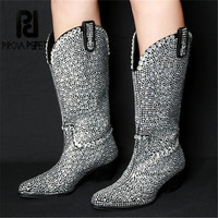 Prova Perfetto Pointe Toe White Rhinestone Decoration Botas Feminina Winter Fashion Real Leather Boots Women Keep Warm Snow Boot
