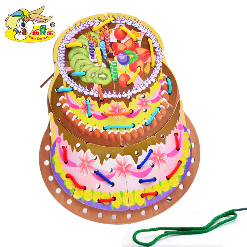 Wooden Cake 3-6-Year-Old Beaded Bracelet Bead-stringing Toy Children'S Educational Toy Boxed