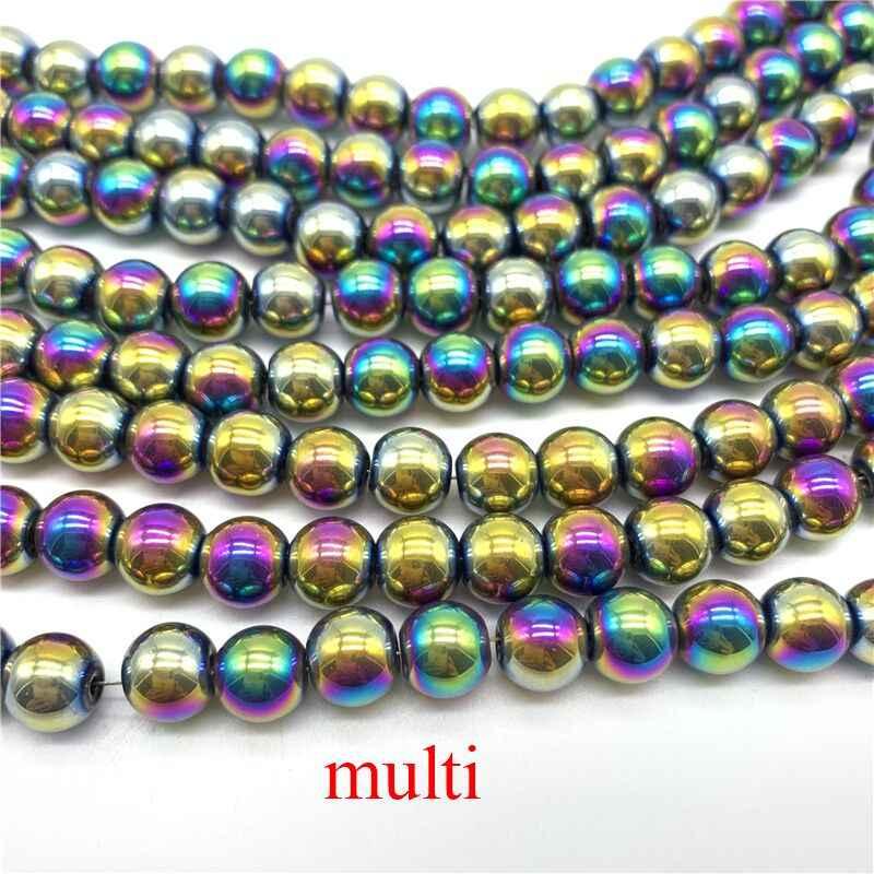 50 Uds. Cuentas redondas de cristal de 8mm, cuentas de materia para la fabricación de joyas, accesorios diy