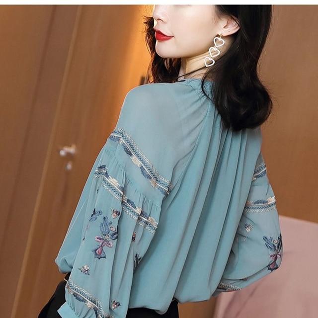 Women Spring Autumn Style Chiffon Blouses Shirts Lady Casual Long Sleeve O-Neck Loose Chiffon Blusas Tops DD8852 4