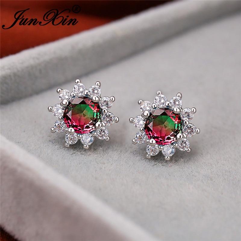 Rainbow Fire Crystal Cute Sunflower Earrings White Gold Gradient Green Blue Stone Wedding Stud Earrings For Women Ear Jewelry Cz