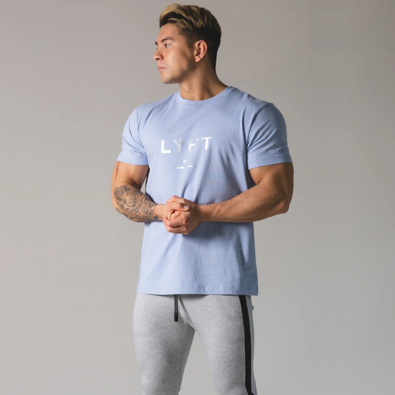 running - JAPAN Brand Men Running T-shirt Short Sleeve Cotton T Shirt Casual Print T Shirt Gym Fitness Bodybuilding Workout Male Tee Tops