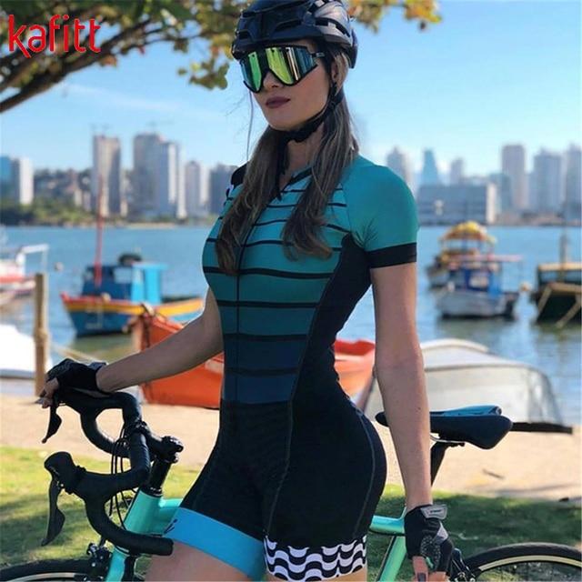 Kafitt pro equipe triathlon conjunto camisa de ciclismo feminino uma peça macacão manga curta macaquinho conjunto feminino gel almofada 1