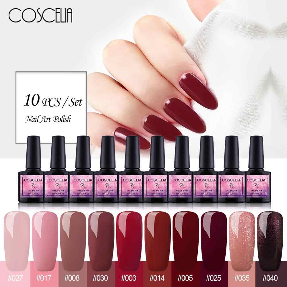 Coscelia 10 Pc Del Gel Del Chiodo Set 8 Ml Gel Nail Polish Kit Uv Gel Set per Gel per Unghie Manicure set per Unghie Artistiche Del Gel Del Chiodo