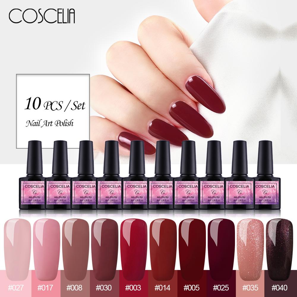COSCELIA 10PC Gel Nail Polish Set 8ml Gel Polish Nail Kit UV Gel Set For Gel Varnish Manicure Set For Nail Art Gel Nail Polish