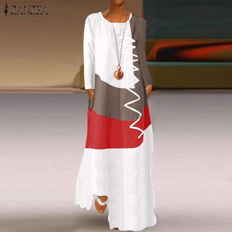2020 ZANZEA Women Vintage Long Sleeve Dress Autumn Cotton Linen Sundress Casual Color Pacthwork Maxi Long Vestido Robe Kaftan