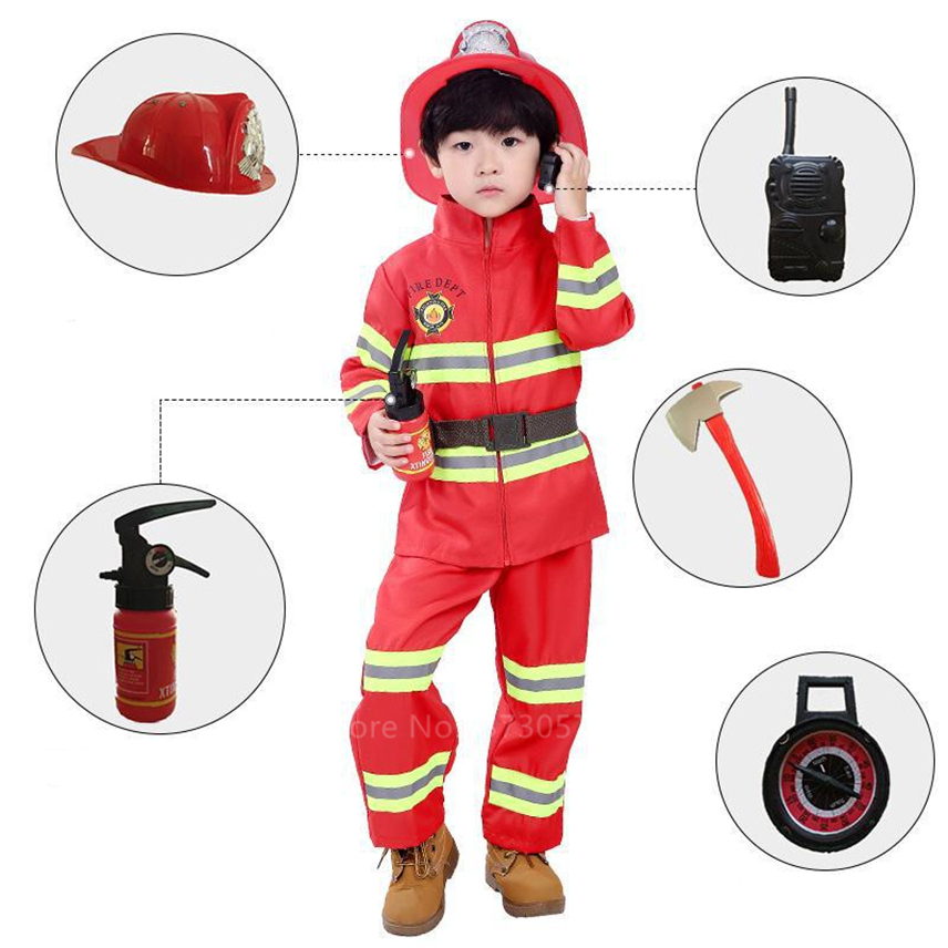 Halloween Cosplay Kids Firefighter Uniform Children Sam Fireman Role Play Work Clothing Suit Boy Girl Performance Party Costumes