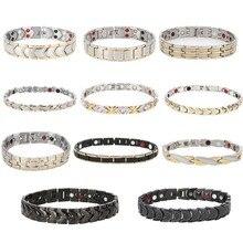 11 Type aimant de guérison Bracelet Bracelet femmes hommes en acier inoxydable soins de santé magnétique Germanium énergie puissance mâle décontracté bijoux