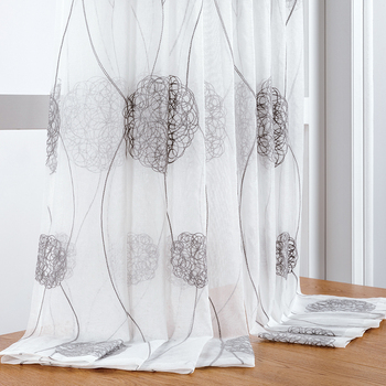 Embroidered Tulle Curtains Window for Living Room Bedroom Modern Floral Sheer Curtains for Kitchen Window Screening Voile Drapes new high quality embroidered luxury curtains window for living room bedroom kitchen tulle curtains valance drapes