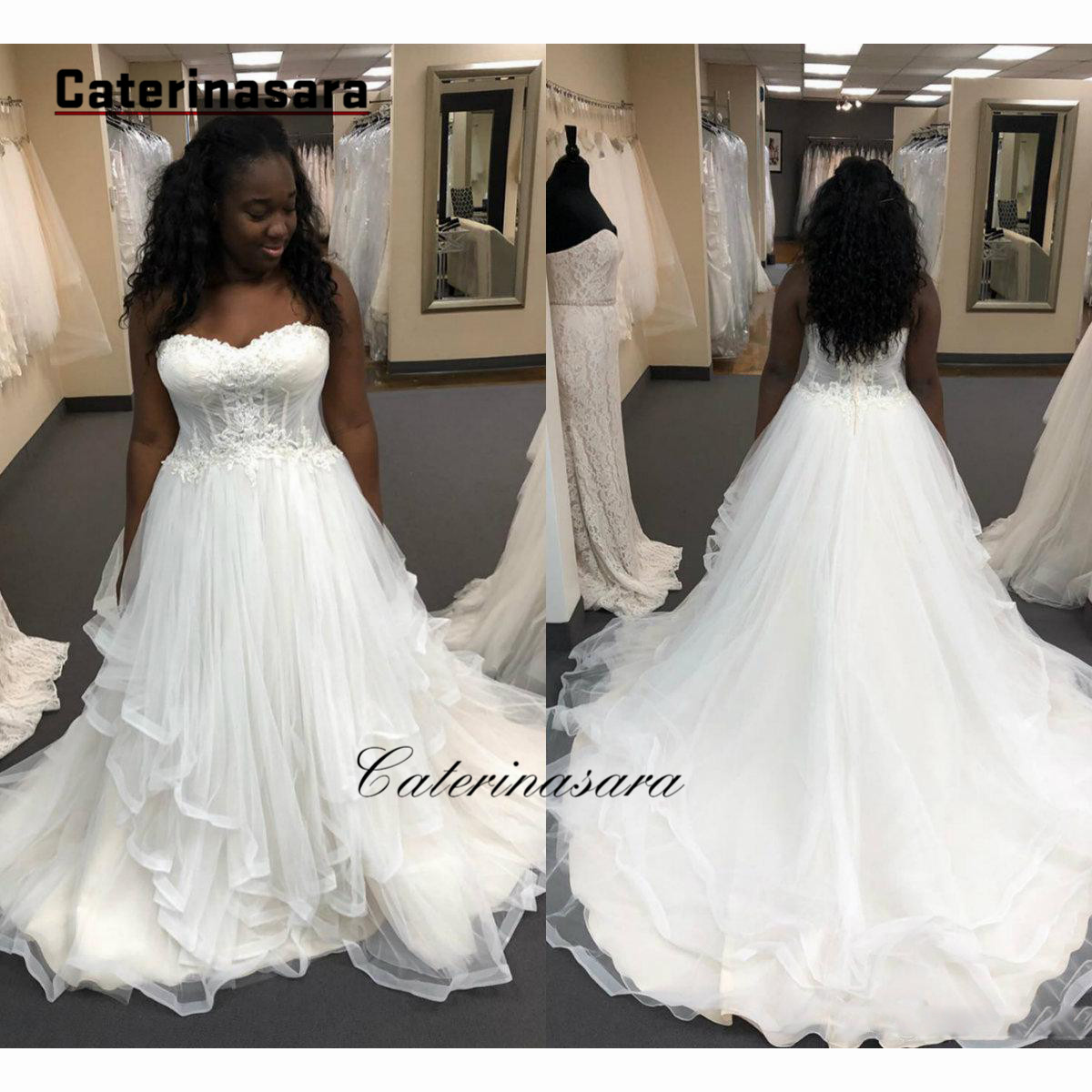 African Plus Size Lace Wedding Dresses 2019 Appliques Sweetheart Sweep Train Zipper A Line Wedding Bridal Gowns